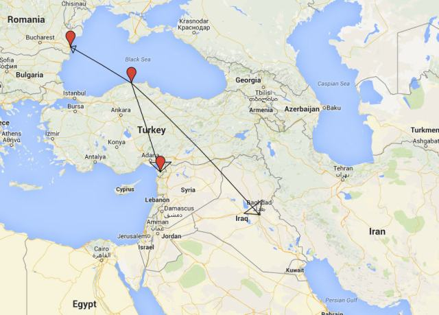 A map showing the expansion of Glycon's influence during and just after Alexander's lifetime as his prophet. From a town on the Black Sea coast of what is modern-day Turkey to what are locations in modern day Romania, Iraq, and Turkey's Mediterranean coast.