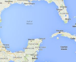 A map of the Gulf of Mexico with the isthmus of Florida, present-day New Orleans, and Cuba visible in proximity to the Yucatan Peninsula.